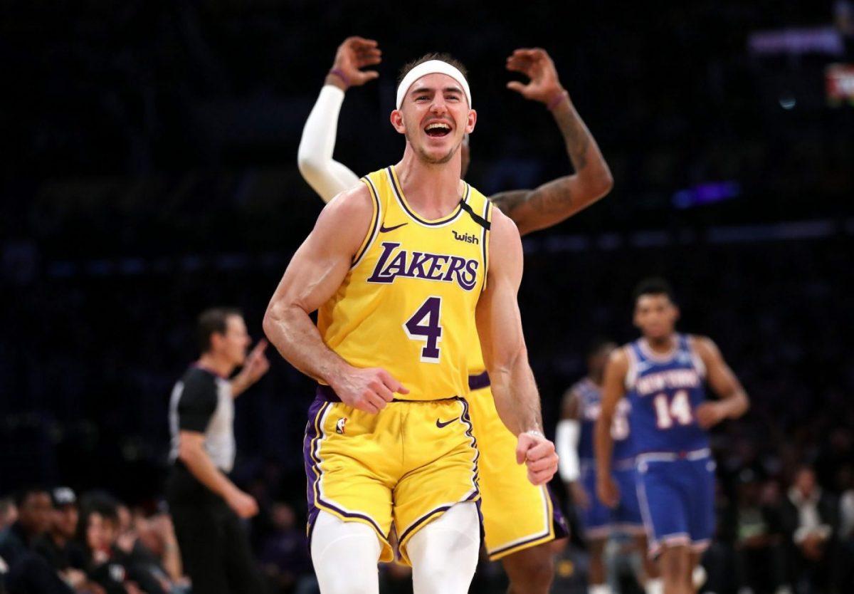 Alex Caruso con la maglia dei Lakers