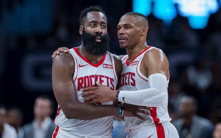 Harden e Westbrook con la maglia dei Rockets