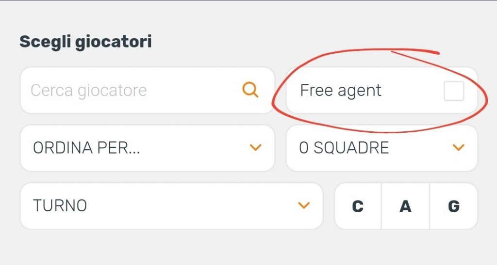 Filtro Free Agent
