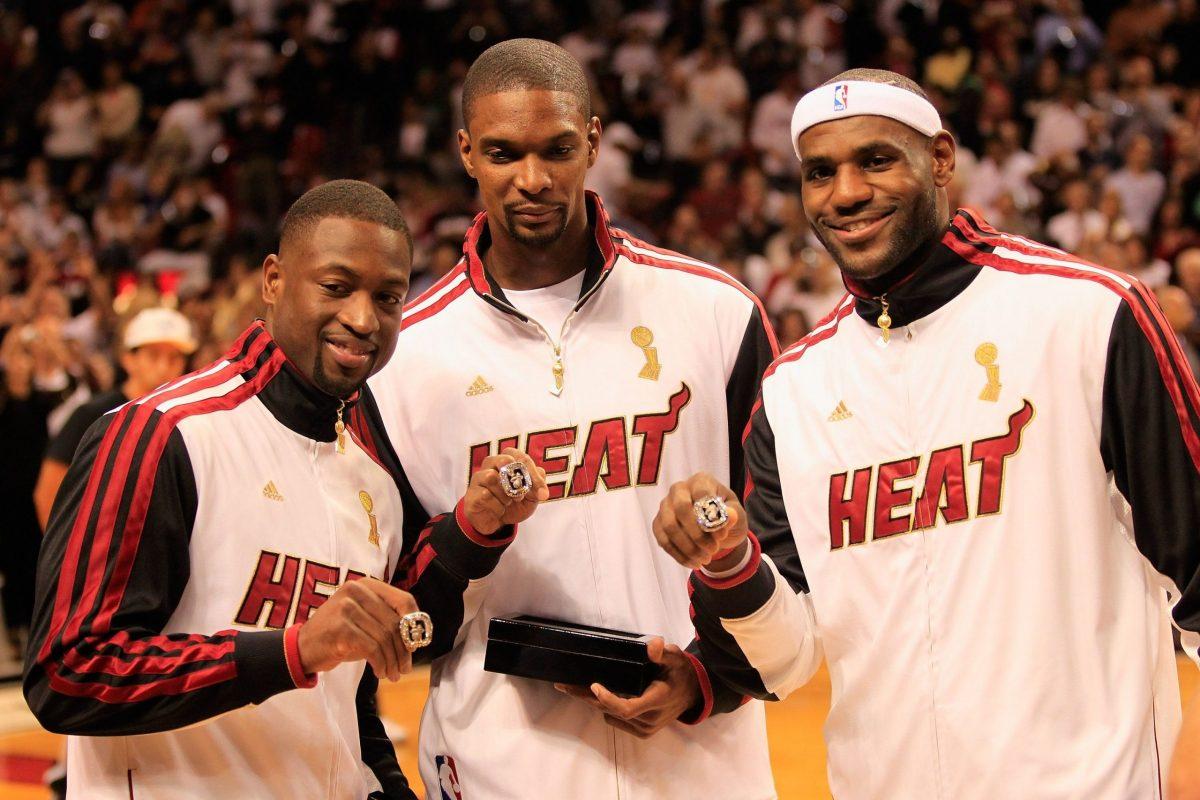 LeBron, Wade e Bosh festeggiano il titolo