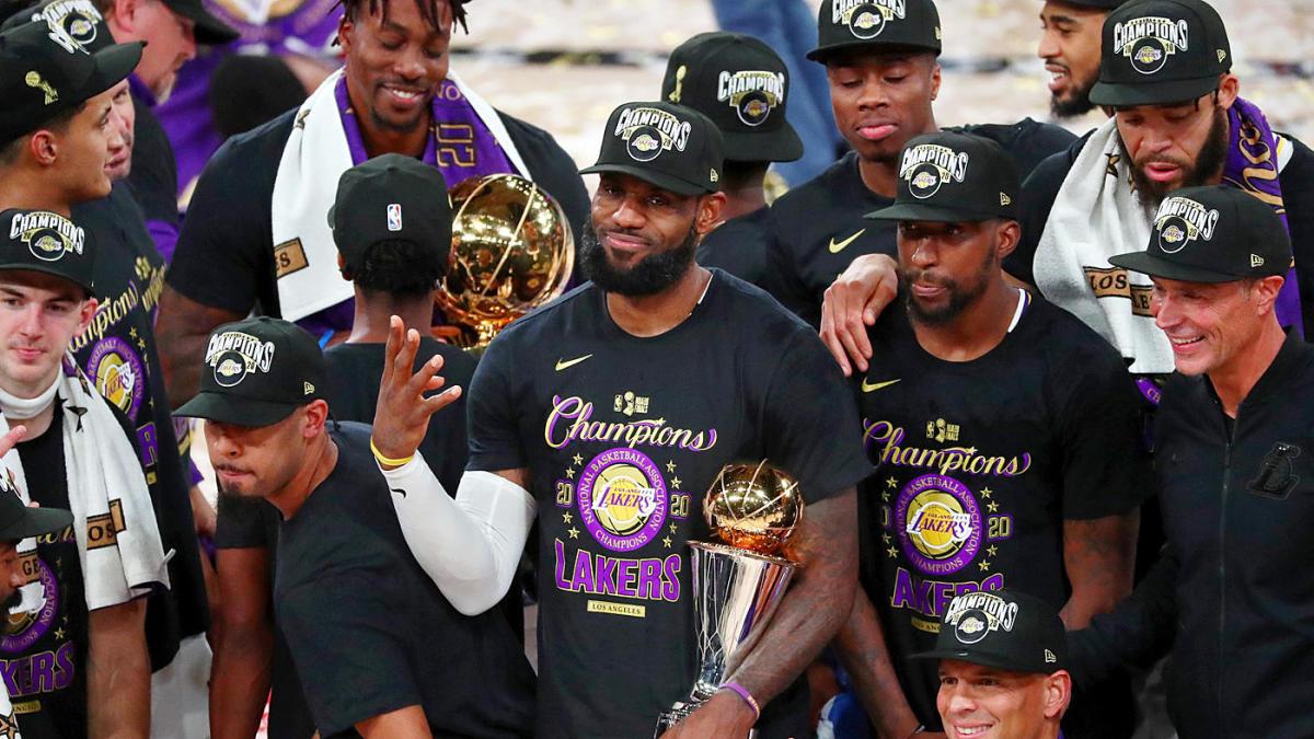 I Los Angeles Lakers dopo la vittoria del titolo