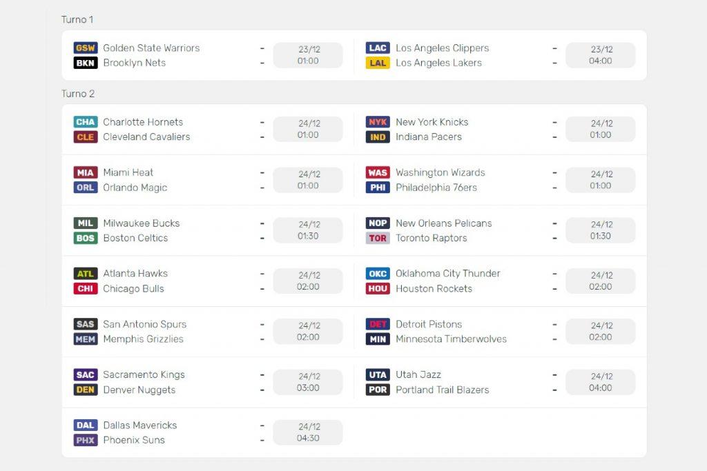Esempio calendario NBA