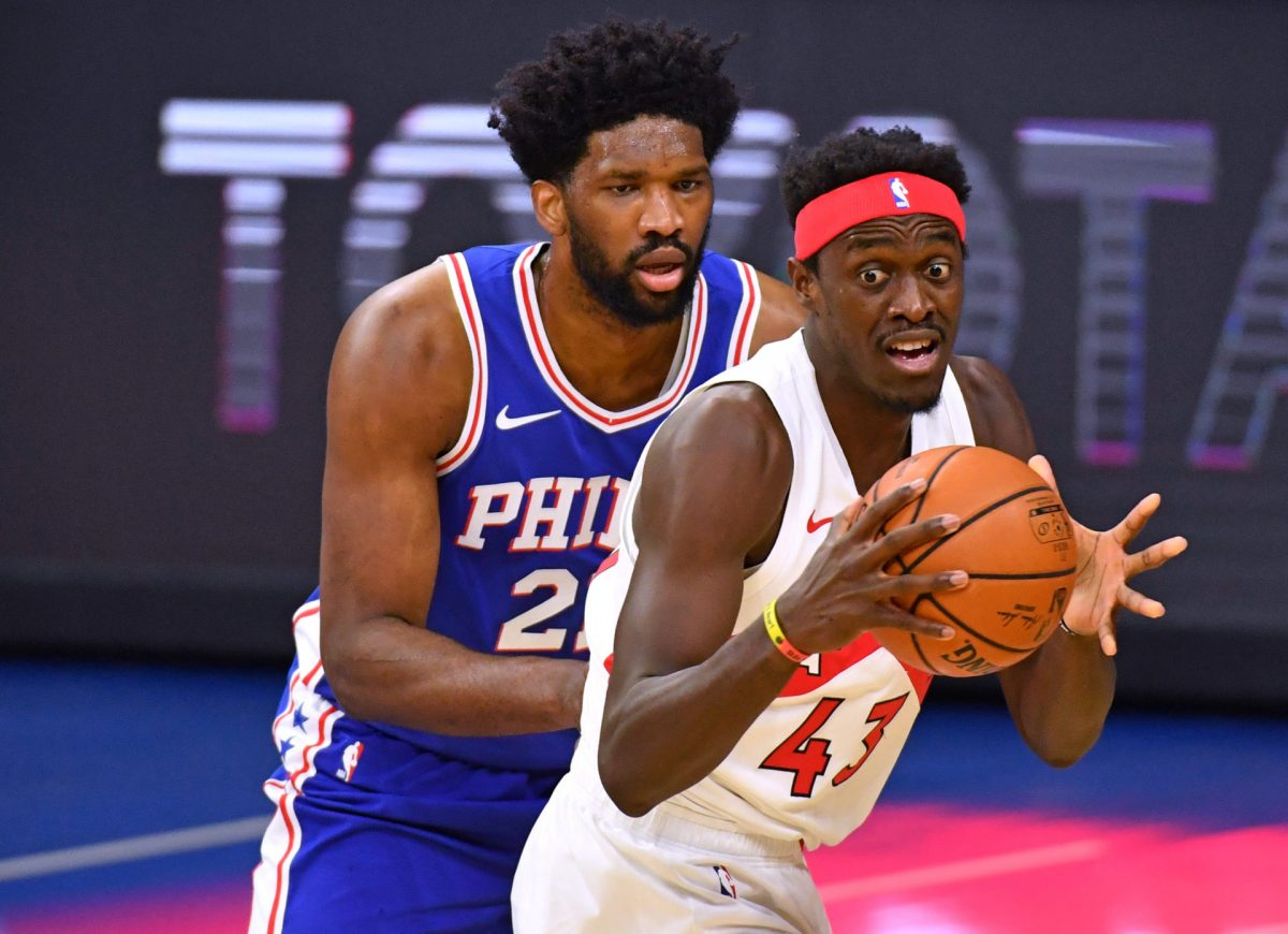 Pascal Siakam in post contro Joel Embiid