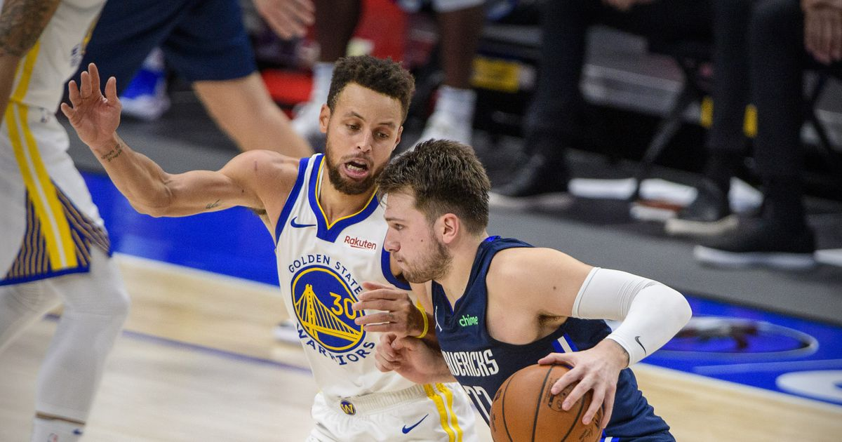Stephen Curry in marcatura su Luka Doncic