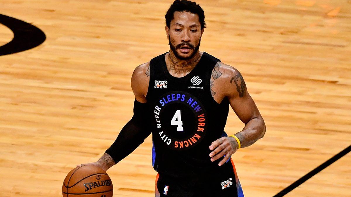 Derrick Rose con la maglia dei New York Knicks