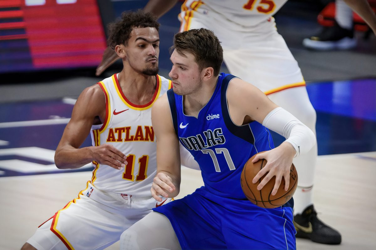 Luka Doncic in post contro Trae Young