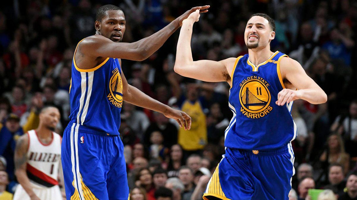 Durant e Thompson in maglia Warriors