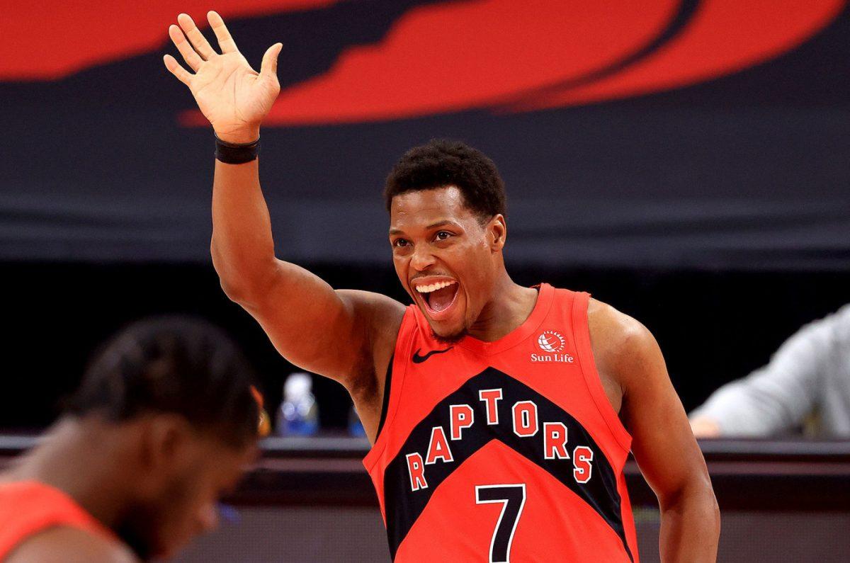 Kyle Lowry in azione con la maglia dei Raptors