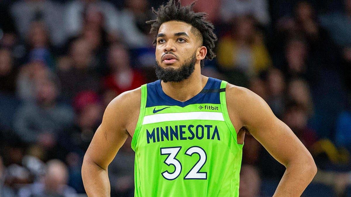 Karl Anthony-Towns con la maglia dei Minnesota Timberwolves