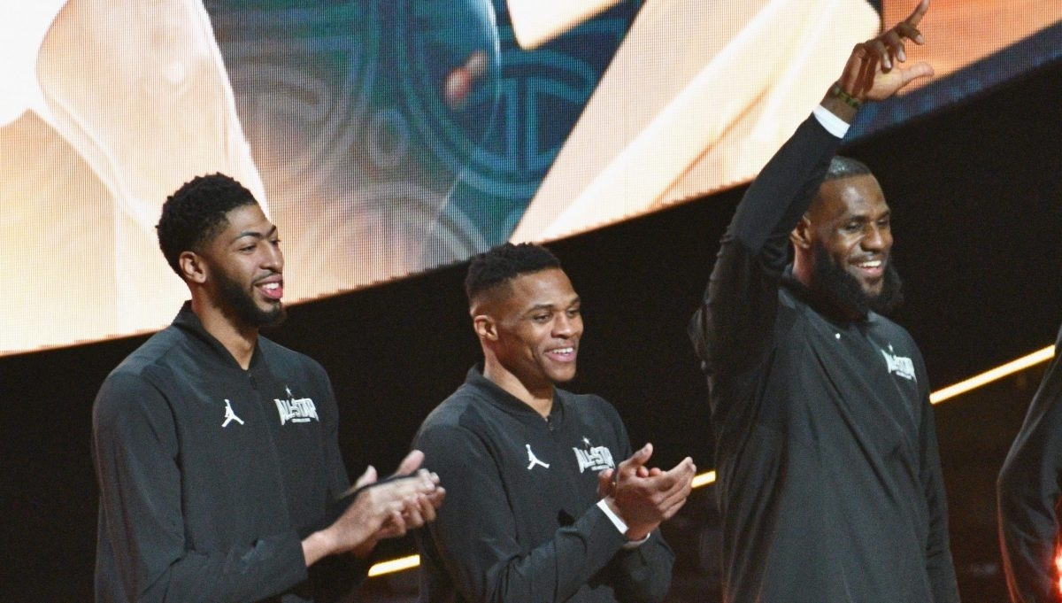Anthony Davis, Russell Westbrook, LeBron James all'All-Star Game