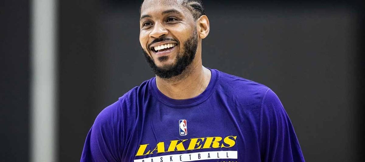 Carmelo Anthony in allenamento con i Lakers