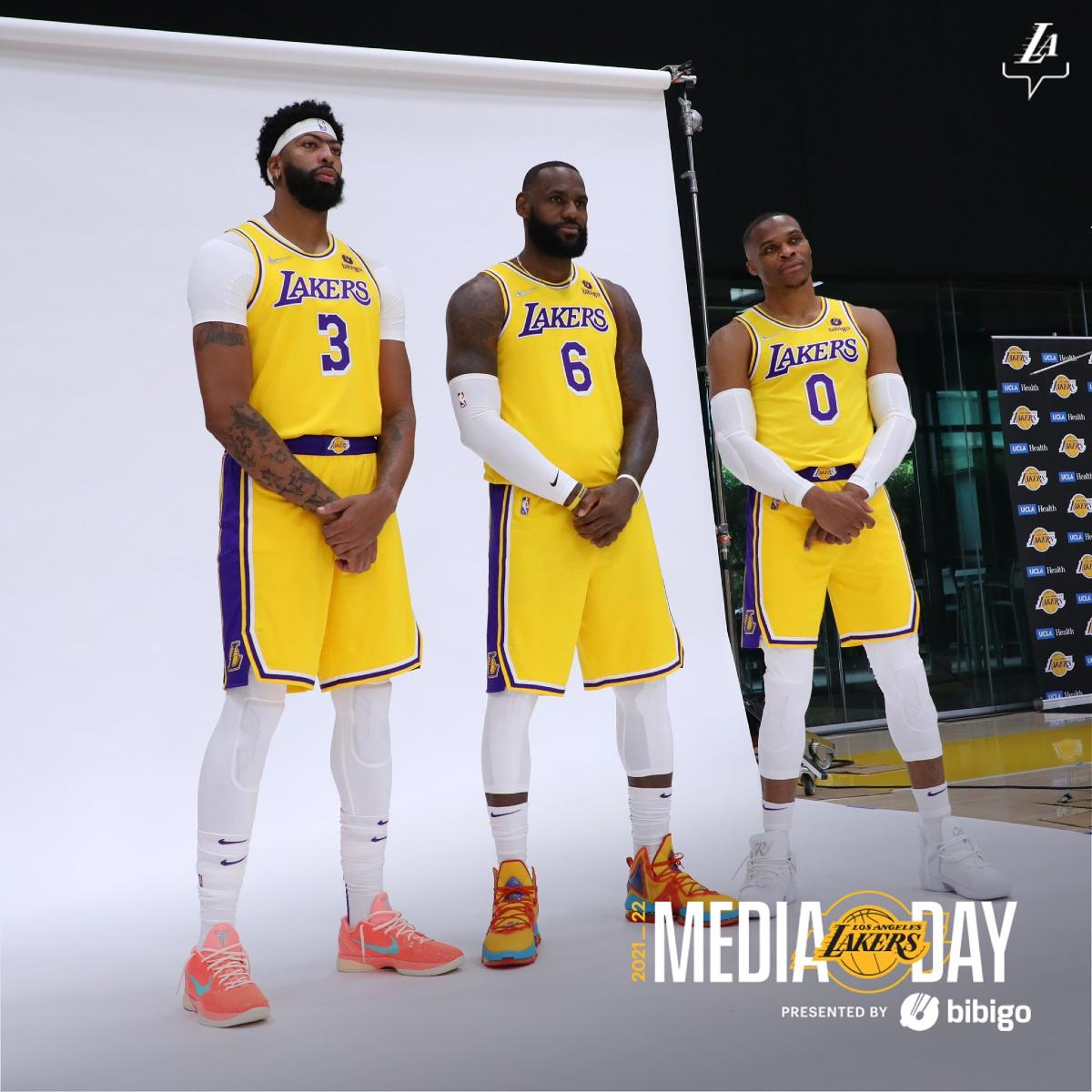 Anthony Davis, LeBron James e Russell Westbrook al Lakers Media Day